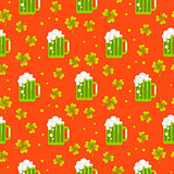 Irish St. Patrick green ale orange seamless pattern.