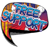 Free Support - Comic book style word.