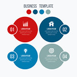 Infographics template four options with circle