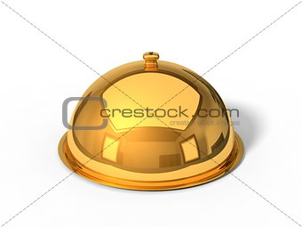 3d illustration of golden Restaurant cloche.