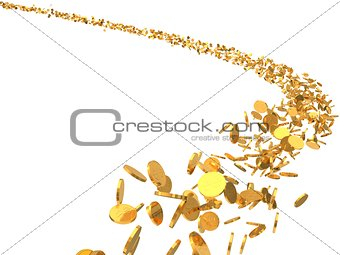 3d illustration of flying golden coins flock.