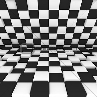 abstract image: black and white cubes 3D illustration