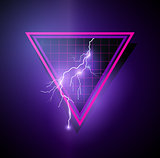 Retro 1980's Element with triangles and lightning bolts