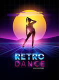 Retro 1980's dancing lady with glitch sunset background