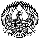 falcon symbol of Horus black white