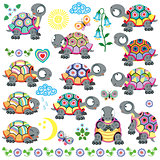set of cartoon tortoise