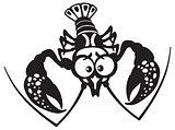 cartoon crayfish black white