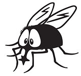 cartoon fly black and white