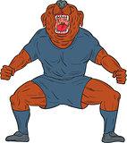 Bulldog Footballer Celebrating Goal Cartoon