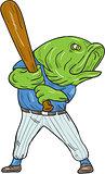Largemouth Bass Baseball Player Batting Cartoon