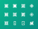 Central Processing Unit icons on green background.