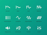 Audio wave amplitude icons on green background.