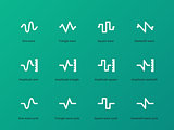 Sound wave cycle types icons on green background.