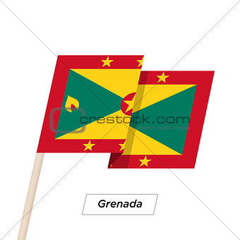Grenada Ribbon Waving Flag Isolated on White. Vector Illustration.
