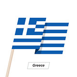 Greece Ribbon Waving Flag Isolated on White. Vector Illustration.