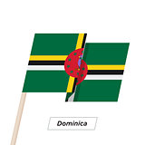 Dominica Ribbon Waving Flag Isolated on White. Vector Illustration.