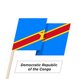 Democratic Republic of the Congo Ribbon Waving Flag Isolated on White. Vector Illustration.