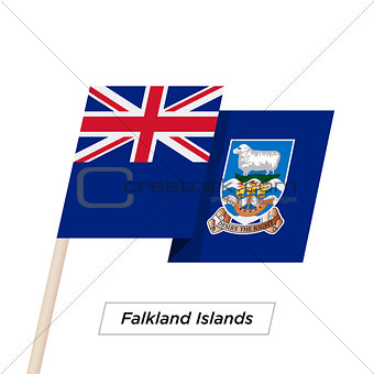 Falkland Islands Ribbon Waving Flag Isolated on White. Vector Illustration.