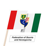 Federation Bosnia and Herzegovina Ribbon Waving Flag Isolated on White. Vector Illustration.