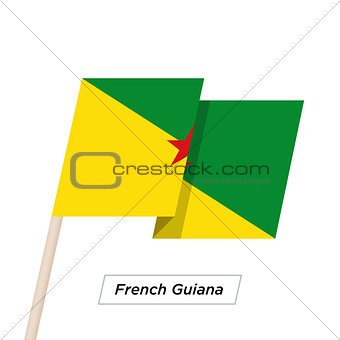 French Guiana Ribbon Waving Flag Isolated on White. Vector Illustration.