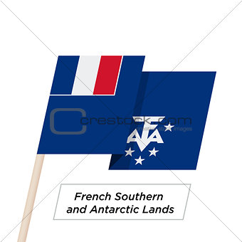 French Southern and Antarctic Lands Ribbon Waving Flag Isolated on White. Vector Illustration.