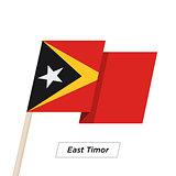 East Timor Ribbon Waving Flag Isolated on White. Vector Illustration.