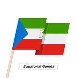 Equatorial Guinea Ribbon Waving Flag Isolated on White. Vector Illustration.