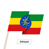 Ethiopia Ribbon Waving Flag Isolated on White. Vector Illustration.