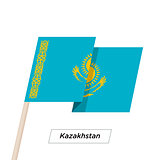 Kazakhstan Ribbon Waving Flag Isolated on White. Vector Illustration.