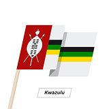 Kwazulu Ribbon Waving Flag Isolated on White. Vector Illustration.
