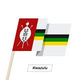 Kwazulu Ribbon Waving Flag Isolated on White. Vector Illustration.