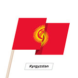 Kyrgyzstan Ribbon Waving Flag Isolated on White. Vector Illustration.
