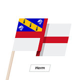 Herm Ribbon Waving Flag Isolated on White. Vector Illustration.