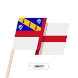 Herm Ribbon Waving Flag Isolated on White. Vector Illustration.
