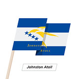 Johnston Atoll Ribbon Waving Flag Isolated on White. Vector Illustration.