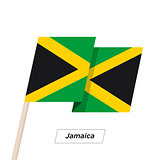 Jamaica Ribbon Waving Flag Isolated on White. Vector Illustration.