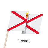 Jersey Ribbon Waving Flag Isolated on White. Vector Illustration.