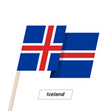 Iceland Ribbon Waving Flag Isolated on White. Vector Illustration.