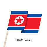 North Korea Ribbon Waving Flag Isolated on White. Vector Illustration.