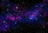 Night Sky with Stars and Blue Purple Nebula. Space Background.