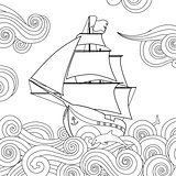 Contour image of sailing ship on the wave in zentangle ispired doodle style. Horizontal composition.