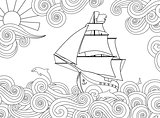 Contour image of ship on the wave in zentangle ispired doodle style. Horizontal composition.