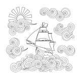 Contour image of ship on the wave, cloud, sun in zentangle inspired doodle style.