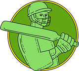 Cricket Player Batsman Circle Mono Line