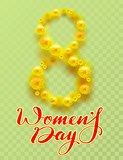 8 March International Womens Day. Yellow flower of acacia and lettering text on transparent background