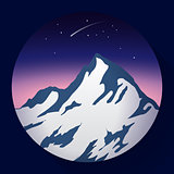 mountain peak at night and Comet icon