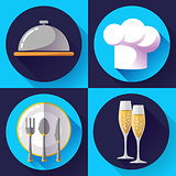 Restaurant icons set Cooking and kitchen