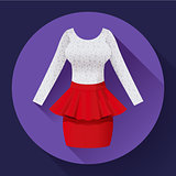 Fashionable womens clothing dress with red skirt and lacy blouse