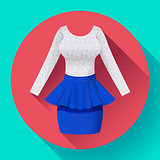 Fashionable womens clothing dress with lacy blouse