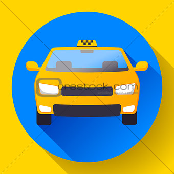 Flat Taxi car icon vector illustration flat design